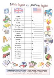 English Worksheets: British English vs American English