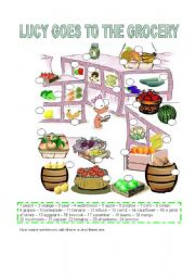 English Worksheets: LUCY GOES TO THE GROCERY