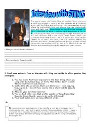 English Worksheets: Getting to know Sting