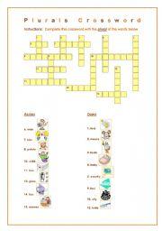 English Worksheets: Plurals Crossword