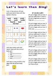 English Worksheets: body parts and if you�re happy song