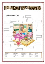 English Worksheet: THERE + BE / PREPOSITIONS