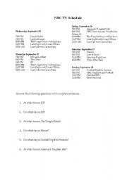 English Worksheets: NBC TV Schedule