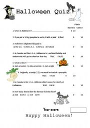 Halloween Quiz - worksheet by PennyBarker