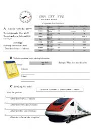 English Worksheets: Swiss Train Schedule
