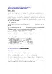 English Worksheet: Listening, Test, reading, and exercises. Really really good. Try
