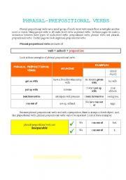 English Worksheet: Phrasal - prepositional verbs