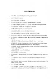 English Worksheets: List of occupations