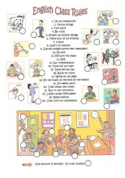 English Worksheets: E,glish class rules