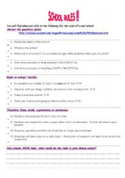 English Worksheet: Webquest about the rules of a real American high school