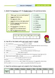 English Worksheets: Modal Verbs - focus on meaning