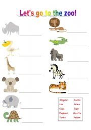 English Worksheets: Let�s go to the zoo!