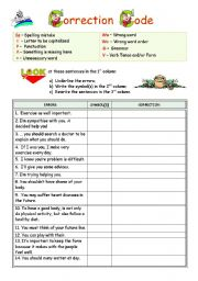 English Worksheet: Learning from our mistakes - Correction Code