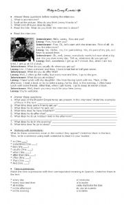 English Worksheet: A day in Lenny Kravitz´s life