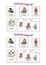 English Worksheet: Classroom language commands for younger students