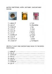 English Worksheets: Uncountable Nouns & Suitable Partitives