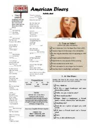 English Worksheet: American Diners- activity sheet (Part 2)