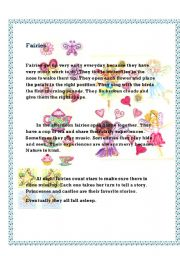 English Worksheets: Fairies. Reading comprehension.