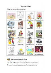 English Worksheets: MY EVERYDAY ACTIVITIES