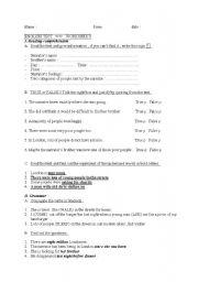 English Worksheets: Reading comprehension TEST  Past