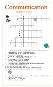 English worksheet: COMMUNICATION CROSSWORD
