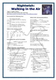 English Worksheets: Grammar Through Songs: Walking in the Air by Nightwish
