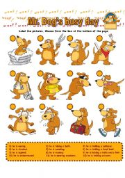 English Worksheet: Mr. Dog´s Busy Day
