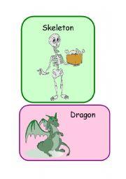 English Worksheets: Skeleton and Dragon