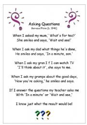 English Worksheet: asking questions poem