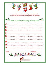 ... worksheets > Holidays and traditions > Christmas > Christmas Acrostic
