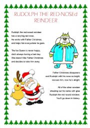 graphic about Lyrics Rudolph the Red Nosed Reindeer Printable known as English worksheets: Rudolph the Purple-Nosed Reindeer