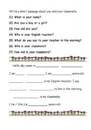 English Worksheets: Write a short passage about your classmate and you