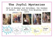 English Worksheets: The Rosary- Joyful Mysteries