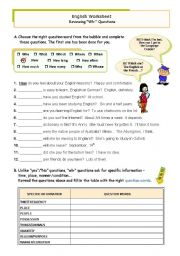 English Worksheet: Wh-questions: Use and Form