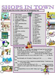 English Worksheet SHOPS IN TOWN