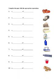 English Worksheet: Expressions of Quantity