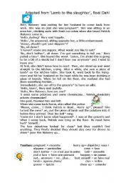 lamb to the slaughter worksheet pdf