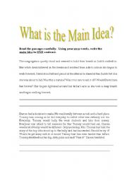 English Worksheet: Finding the Main Idea of a paragraph