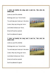 English Worksheet: SONG PRACTICE (4 PAGES)