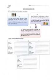 English Worksheets: Reading Comprehension - introductions