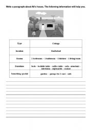 English Worksheet: A Description of a House