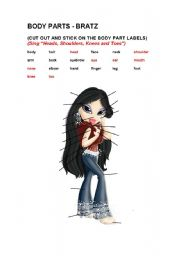 English Worksheets: Body Parts - Bratz Theme (+ Heads Shoulders Knees and Toes)