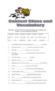 English Worksheet: Context Clues and Vocabulary