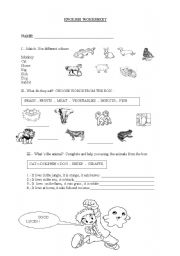 English Worksheets: What do they eat ?
