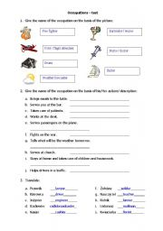 English Worksheets: Occupations - test