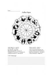 English Worksheet: zodiac signs