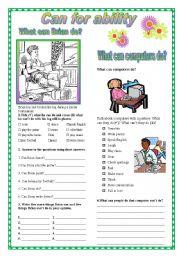 English Worksheets: Can for ability