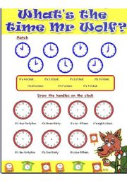 English Worksheets: What�s the time Mr. Wolf?