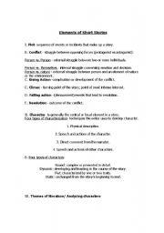 ESL kids worksheets: Short Story Elements