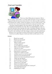 English Worksheets: read and translate
